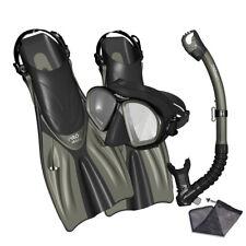 PROMATE Spectrum Adult Snorkeling Mask Fins Dry Snorkel Bag Dive Gear Set - S/M