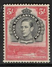 Kenya, Uganda & TANGANICA SG148 1938 5/= Nero & Carmine P 13 1/4 MTD Nuovo di zecca