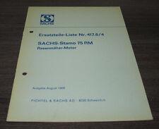 Ersatzteilliste Sachs Stamo 75 RM  Rasenmäher Motor Nr. 417.6/4  1968