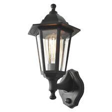 1 Light Wall Lantern Traditional Outdoor Light w/ PIR Sensor in Black Litecraft