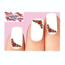 Waterslide Holiday Nail Decals Art Set of 20 - Christmas Poinsettia Corner