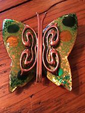 Vintage  MATISSE RENOIR jewelry Green Enamel & Copper Butterfly Brooch Pin Signe