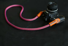 COOL Red blue Spot Climbing rope 10mm brown leather handmade Camera strap