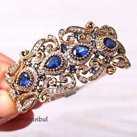 Turkish Handmade Jewelry Sterling Silver 925 Sapphire Fine Bracelet Bangle Cuff