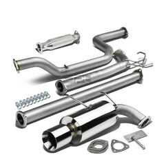 "4""ROLLED MUFFLER TIP RACING CATBACK+PIPE EXHAUST FOR 90-93 INTEGRA DA DB B17 B18"