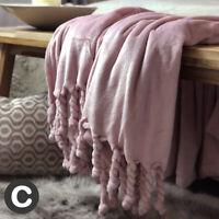 Luxury Super Soft Plush Knotted Fringed Large Blanket Throw Bed Sofa Blush Pink