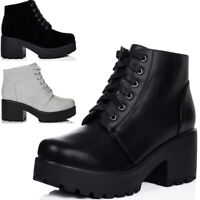 Womens Lace Up Block Heel Ankle Boots Shoes