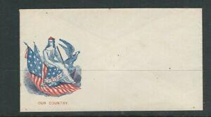 UNITED STATES circa 1850s UNUSED PATRIOTIC envelope F