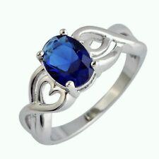 Neu Damen Herren Design Blau Saphir Edelstein Sterlingsilber 925 Ring Gr.17,5 mm