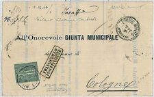 ITALIA REGNO: Sass L14 -  ISOLATO  su  circolare - FRANCOBOLLO INSUFFICENTE !