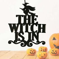Non-woven The Witch Is In Door Sign Halloween Party Hanging Props Party Decor Us