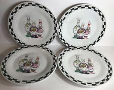 "Set Of 4 Salad Plates by Trisa Stoneware (Fat Chefs) 8"" D"