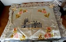 Trench Art Souvenier Ypres Cloth Hall Silk & Belgian lace panel 63 x 53cm