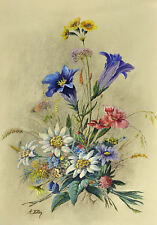 Framed Print - Flower Painting by Adolf Hitler (Replica Art Watercolour Picture)