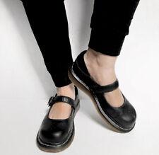 Dr martens black single strap flat mary jane shoes