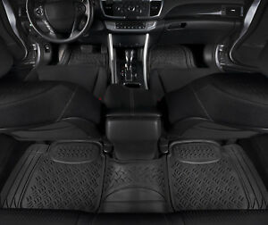 Car Floor Mats Black All Weather 3D Rubber - 3 PC for Car Truck SUV