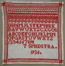 1936 OLD DUTCH RED CROSS STITCH ALPHABET SAMPLER LETTERS NUMBERS T SMIDSTRA