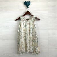 Giusy Medium 100% Silk Romantic Floral Print Cold Shoulder Long Slv Blouse Top