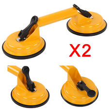 2 x Heavy Duty Dual Double Rubber Suction Cup Glass Lifting Handle Lifter Tool
