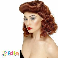 1940s AUBURN PIN UP GIRL WIG WITH LOOSE CURLS ladies womens fancy dress costume