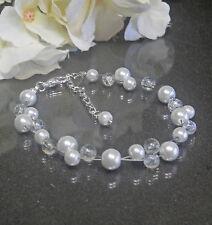 Funkelndes Perlen Armband weiß Crackle Perlen handgef.