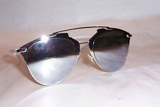 f4d7cd35846 NEW CHRISTIAN DIOR REFLECTED S 85L-DC WHITE SILVER MIRROR SUNGLASSES  AUTHENTIC