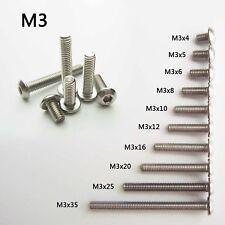 25/100pcs Stainless Steel Metric Thread M3 Button Head Hex Socket Cap Screw Bolt