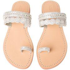 "MYSTIQUE Jeweled ""Marrkesh"" Silver Crystal Rhinestone Toe Sandals Flip Flops 7"