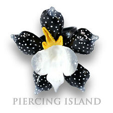Edler Ring Orchidee Leder Leather Natur Schmuck freesize AR120a