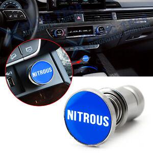 Sport Blue NITROUS Push Button Car Cigarette Lighter Plug Insert Cover Universal