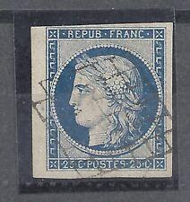 Céres  YV. N° 4a bleu foncé petit bord de feuille  sans aminci .