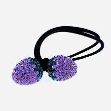 Strawberry Hair Rope Wrap use Swarovski Crystal Hairpin Ponytail Holder  Purple   98aadc202eb