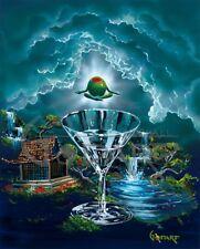 "Michael Godard-""ZEN MARTINI 2""-Yoga-Hawaii-Island Lifestyle-Surfing-Ocean*RARE*"