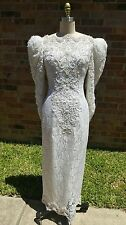 Vintage 90s wedding dress white lace beads S small