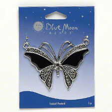 Butterfly Pendant Retro Vintage Style 2.5 inch Antiqued Silver Black Jewelry