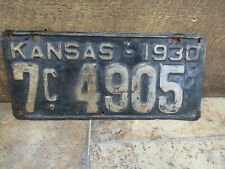Old Antique Kansas 1930 License Plate Rat Rod Model A Jalopy 7C 4905