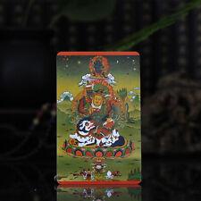 """3.4"""" Tibet Tibetan Buddhism Exquisite painting Amulet thangka vaishravana Mammon"""