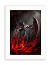 DEVIL DEMON FIRE CHAIN TRIDENT WINGS HORNS Painting Canvas art Prints