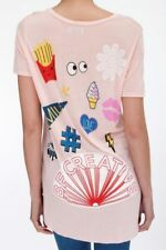 $135 LAUREN MOSHI Kelis SCOOPED Hem TEE SHIRT Top BE CREATIVE Armour Pink ( S )