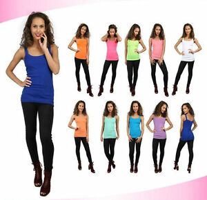 New Ladies Women's Summer Fitted Ribbed Streppy Vest Top Plus Size UK 8-22