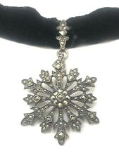 Removable Snowflake Pendant Enhancer 925 Sterling Silver And Marcasite W/ Collar