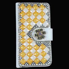 Shine Bling Crystal Diamonds PU Leather Flip Slots Stand Wallet Case For Sony