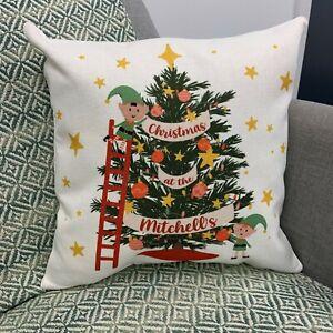 Personalised Family Christmas Tree Xmas Elf Cushion - Gift Set Holiday Decor