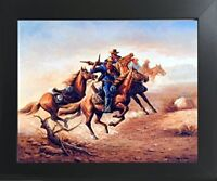 Civil War Blue Soldiers Shoot Out Wall Decor Contemporary Black Framed Picture