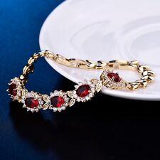 18k Yellow Gold Filled Red Garnet Beaded Design Women Wedding Vintage Bracelet