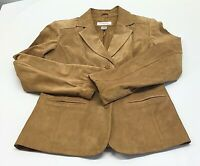 Leather Tailored Jacket Blazer Women's Sz M Tan by Preston & York