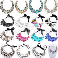 Women Chain Crystal Statement Bib Choker Chunky Collar Pendant Necklace Jewelry