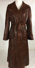 Napa Y Ante Women's Soft Vintage Brown Leather Trench Coat Size Medium