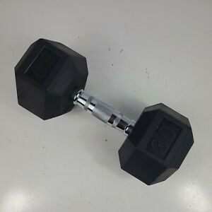 30 LB Dumbbell Rubber Coated Hex Dumbbells Weight Single Only ONE