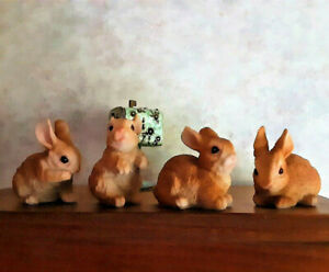 Miniature Baby Bunny Rabbit Shelf Sitters Table Figurines Spring Easter Set of 4
